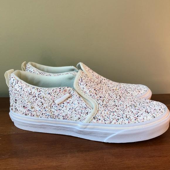 Nwt Vans White Sparkly Slipon Sneakers